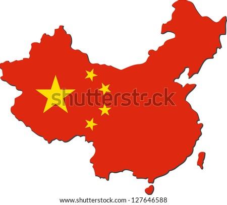 Map of China with national flag isolated on white background (raster illustration) - stock photo