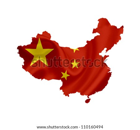 Map of China with waving flag isolated on white - stock photo