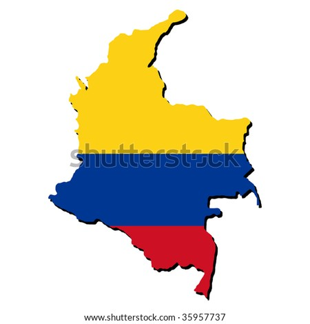 map of Colombia and Colombian flag illustration JPEG