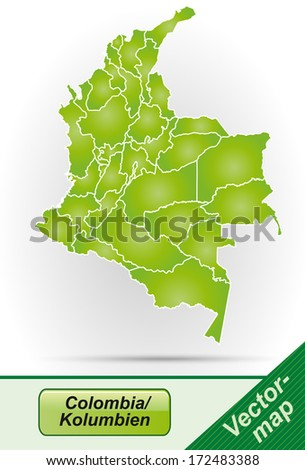 Map of Colombia with borders in green