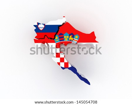 Map of Croatia and Slovenia. 3d