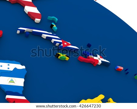 Map of Cuba, Jamaica, Haiti and Dominican Republic on globe with embedded flags of countries. 3D illustration. - stock photo