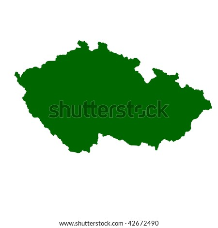 Map of Czech Republic isolated on white background.
