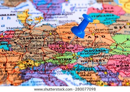 Map of czech republic with a blue pushpin stuck - stock photo