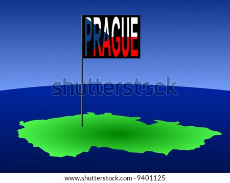 map of Czech Republic with position of Prague marked by flag pole illustration JPG