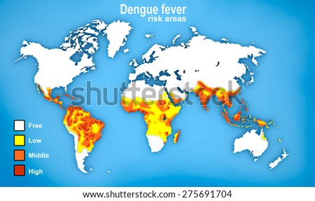 Map of Dengue fever spread - stock photo