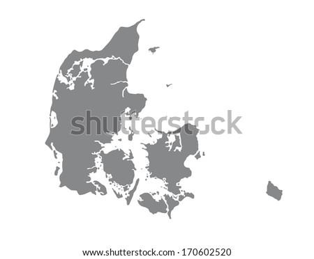 Map of Denmark in gray - stock photo