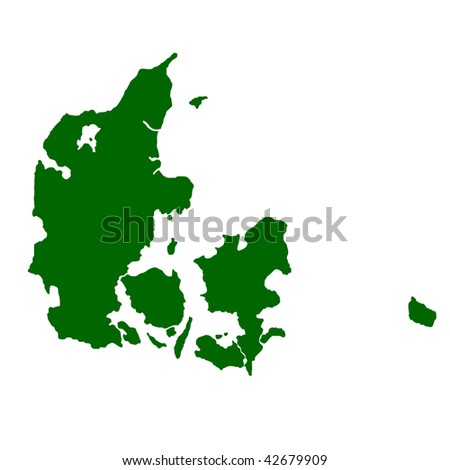Map of Denmark isolated on white background.