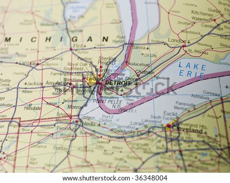 Map of Detroit - stock photo
