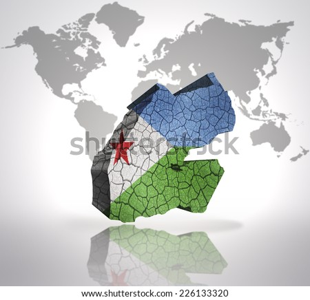 Map of Djibouti  with Djibouti  Flag on a world map background - stock photo
