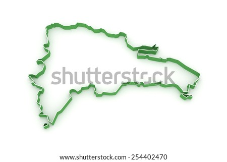 Map of Dominican Republic. 3d - stock photo