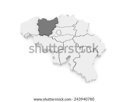 Map of East Flanders. Belgium. 3d - stock photo