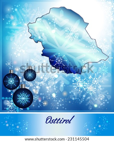 Map of East Tyrol in Christmas Design in blue
