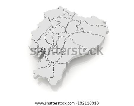 Map of Ecuador. 3d - stock photo