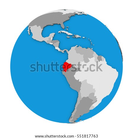 Map ecuador highlighted red on globe ilustracin de stock551817763 map of ecuador highlighted in red on globe 3d illustration isolated on white background gumiabroncs Image collections