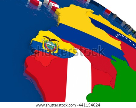 Map of Ecuador with embedded flags on 3D political map. Accurate official colors of flags. 3D illustration - stock photo