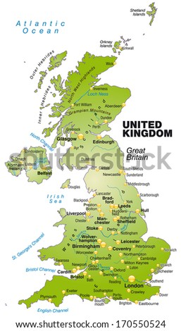 Map of England as an overview map in green - stock photo