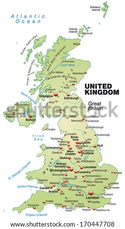 Map of England as an overview map in pastel green - stock photo