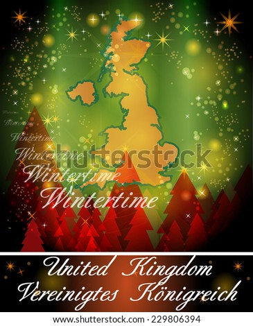 Map of England in Christmas Design   - stock photo
