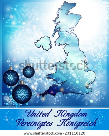 Map of England in Christmas Design in blue - stock photo