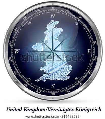 Map of England with borders in chrome - stock photo