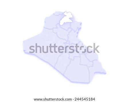 Map of Erbil. Iraq. 3d - stock photo