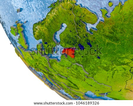 Map estonia red on globe real stock illustration 1046189326 map of estonia in red on globe with real planet surface embossed countries with visible gumiabroncs Gallery