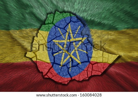 Map of Ethiopia in National flag colors - stock photo