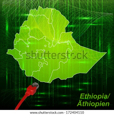 Map of Ethiopia with borders in network design