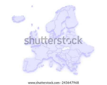 Map of Europe and Czech. 3d - stock photo