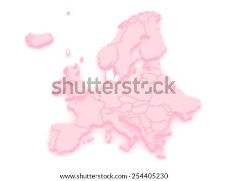 Map of Europe and Denmark. 3d - stock photo