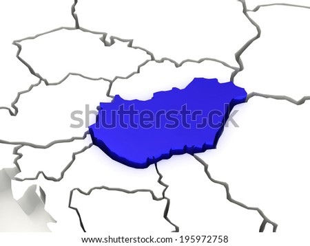 Map of Europe and Hungary. 3d - stock photo