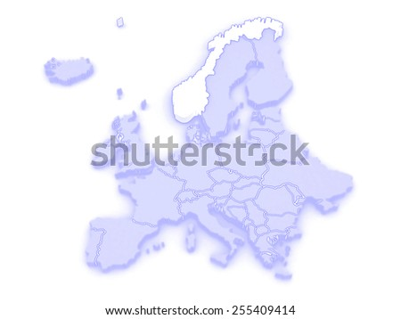 Map of Europe and Norway. 3d - stock photo