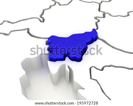 Map of Europe and Slovenia. 3d