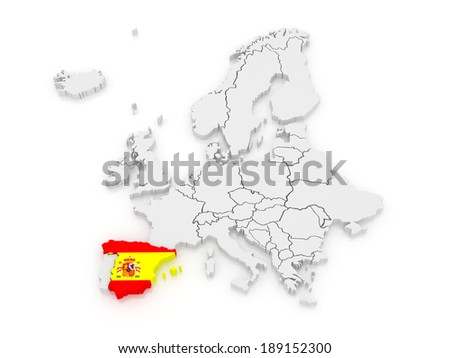 Map of Europe and Spain. 3d - stock photo