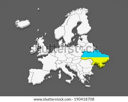 Map of Europe and Ukraine. 3d