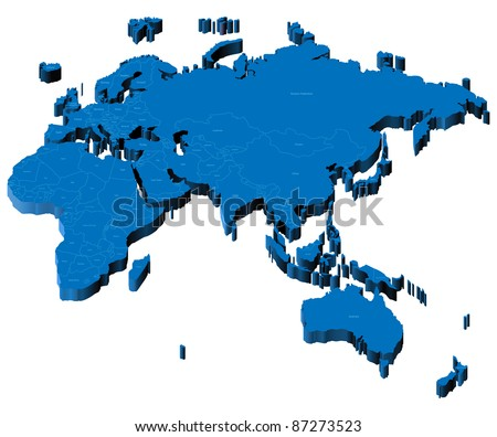 Map of Europe, Asia, Africa, Australia with national borders and country names. Raster version. Vector version is also available. - stock photo