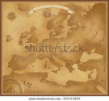 Map of Europe illustration old background