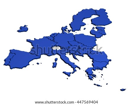 Map of Europe in Blue only EU - stock photo