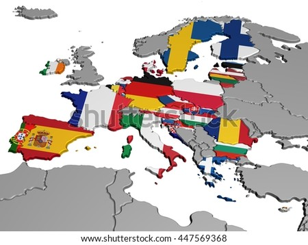 Map of Europe in National Colors - stock photo