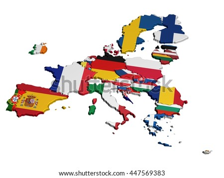 Map of Europe in National Colors only EU