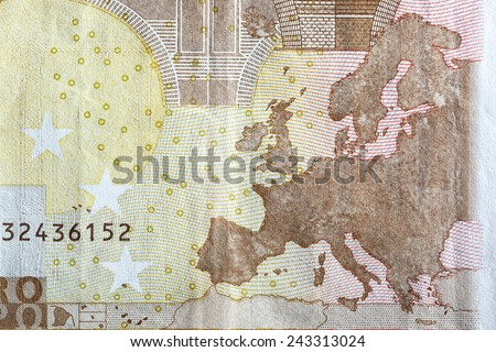 Map of Europe on the reverse of an Euro banknote. European currency - stock photo