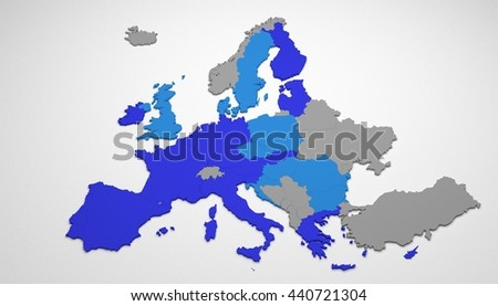 Map of Europe with European Union (EU) members colored in blue. Darker blue are members who uses euro as currency, and lighter blue are those who has their own currencies. 3D render, isolated on white - stock photo
