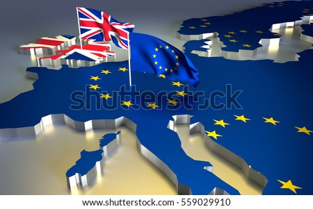 map of europe with the national flag brexit referendum uk united kingdom great