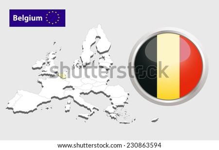 Map of European Union countries, with every state easy selectable and editable. Belgium.  - Belgium Flag Glossy Button - stock photo