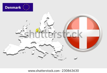 Map of European Union countries, with every state easy selectable and editable. Denmark. Vector - Denmark Flag Glossy Button - stock photo