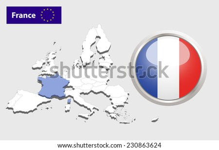 Map of European Union countries, with every state easy selectable and editable. France.  - France Flag Glossy Button - stock photo