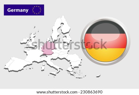Map of European Union countries, with every state easy selectable and editable. Germany. Flag Glossy Button Germany. - stock photo