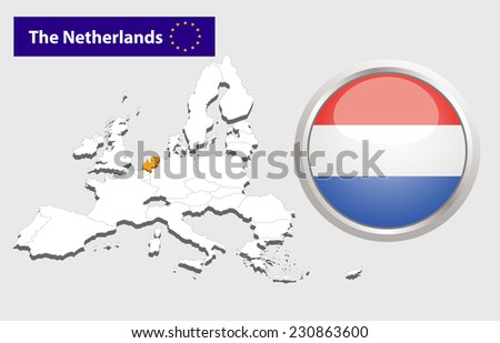 Map of European Union countries, with every state easy selectable and editable. Netherlands .Vector - Netherlands Flag Glossy Button - stock photo