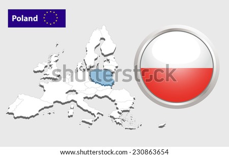Map of European Union countries, with every state easy selectable and editable. Poland.  - Poland Flag Glossy Button - stock photo